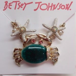 Betsey Johnson New Jade Crab Necklace & Earrings